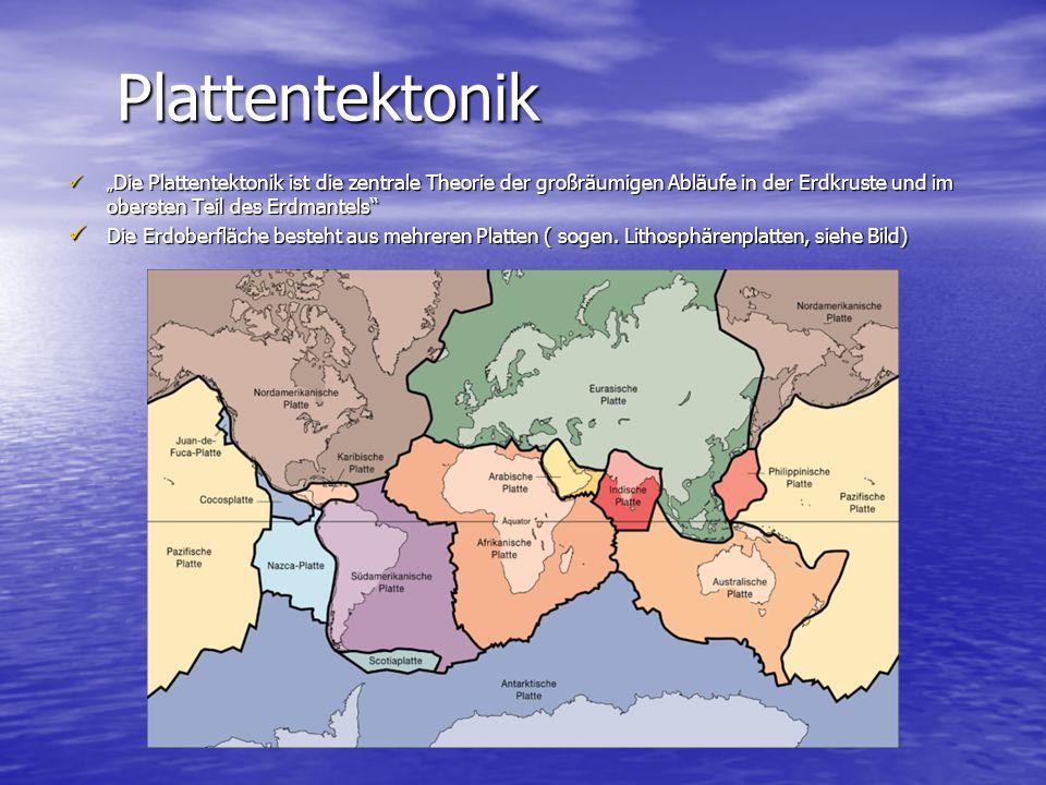 """Plattentektonik Plattentektonik """" Die Plattentektonik ist die zentrale Theorie der großräumigen Abläufe in der Erdkruste und im obersten Teil des Erdm"""