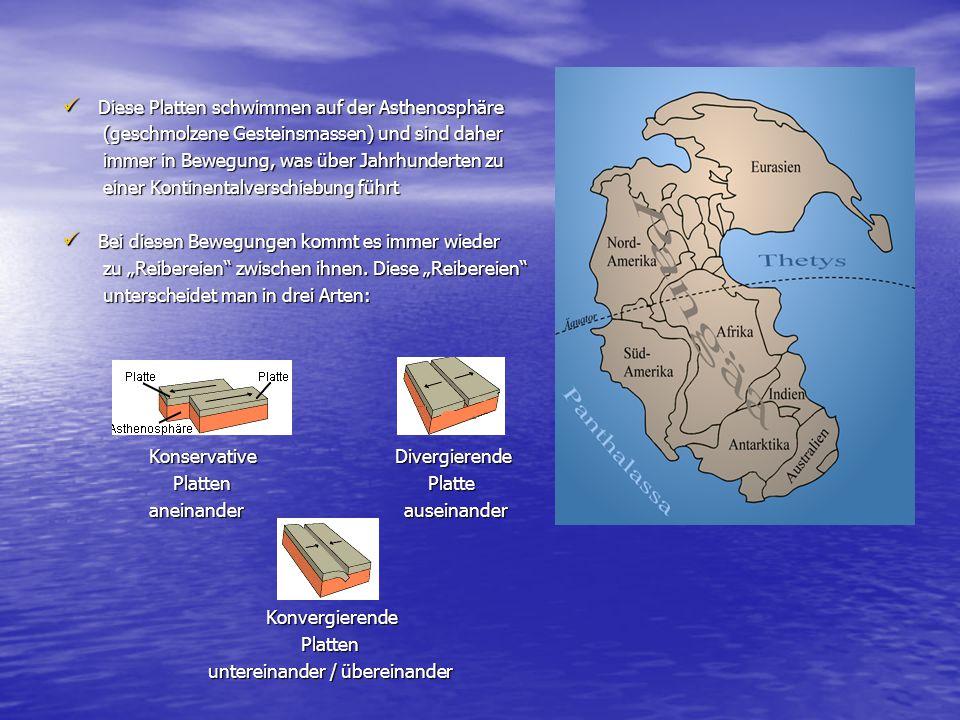 Diese Platten schwimmen auf der Asthenosphäre Diese Platten schwimmen auf der Asthenosphäre (geschmolzene Gesteinsmassen) und sind daher (geschmolzene