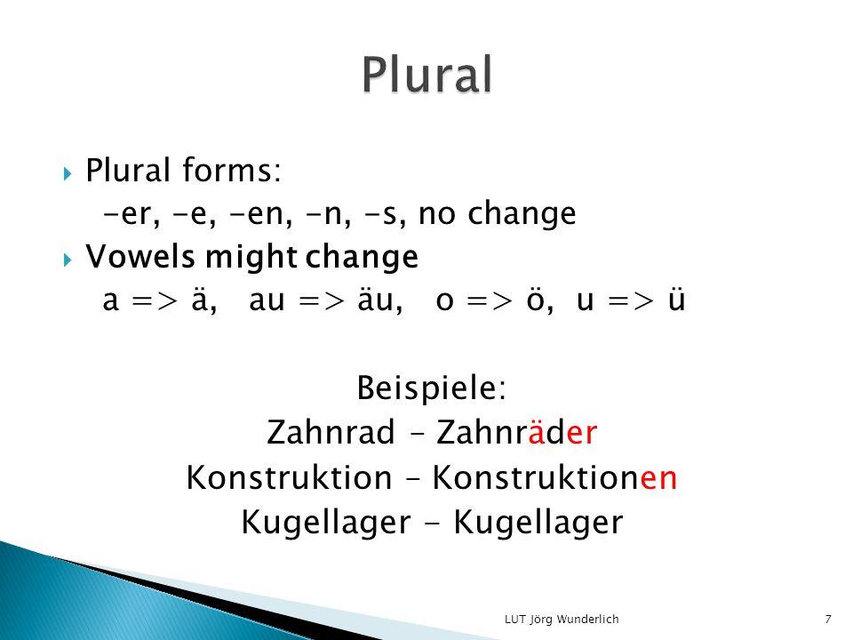  Plural forms: -er, -e, -en, -n, -s, no change  Vowels might change a => ä, au => äu, o => ö, u => ü Beispiele: Zahnrad – Zahnräder Konstruktion – Konstruktionen Kugellager - Kugellager 7LUT Jörg Wunderlich