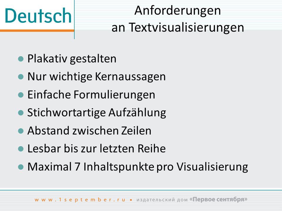 Anforderungen an Textvisualisierungen ● Plakativ gestalten ● Nur wichtige Kernaussagen ● Einfache Formulierungen ● Stichwortartige Aufzählung ● Abstan