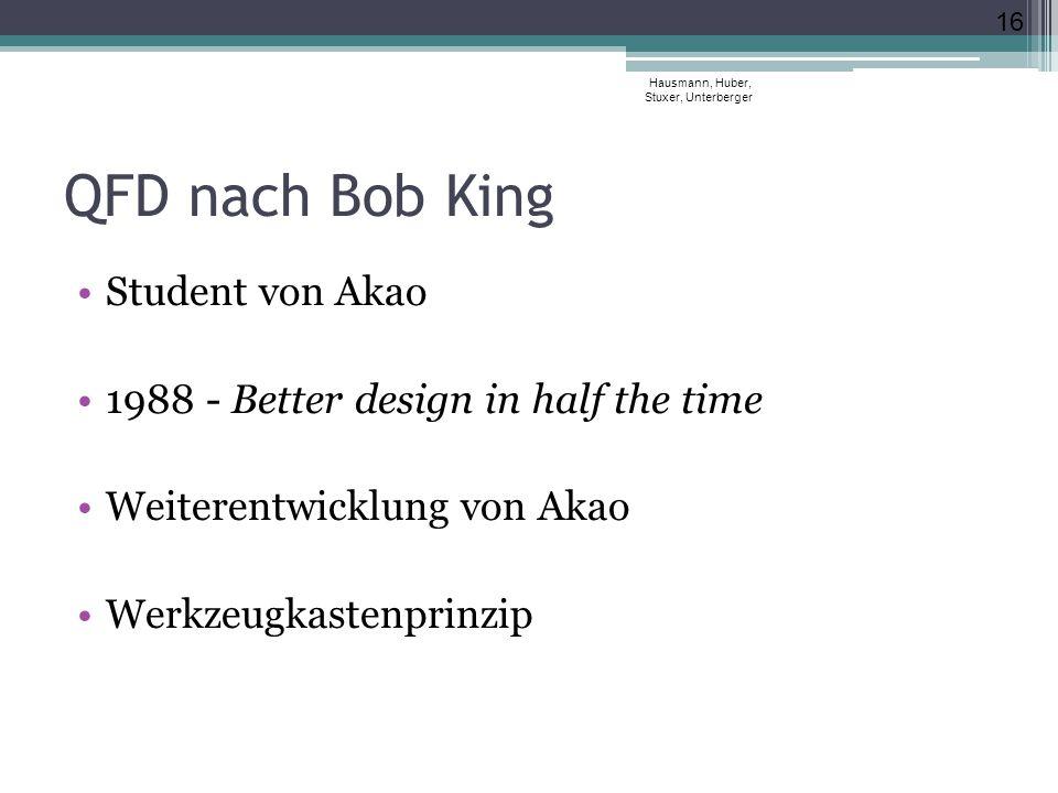 QFD nach Bob King Student von Akao 1988 - Better design in half the time Weiterentwicklung von Akao Werkzeugkastenprinzip Hausmann, Huber, Stuxer, Unt