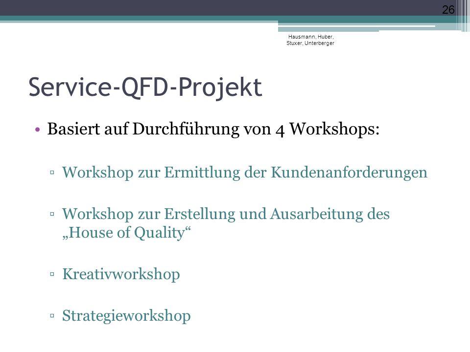 """Service-QFD-Projekt Basiert auf Durchführung von 4 Workshops: ▫Workshop zur Ermittlung der Kundenanforderungen ▫Workshop zur Erstellung und Ausarbeitung des """"House of Quality ▫Kreativworkshop ▫Strategieworkshop Hausmann, Huber, Stuxer, Unterberger 26"""