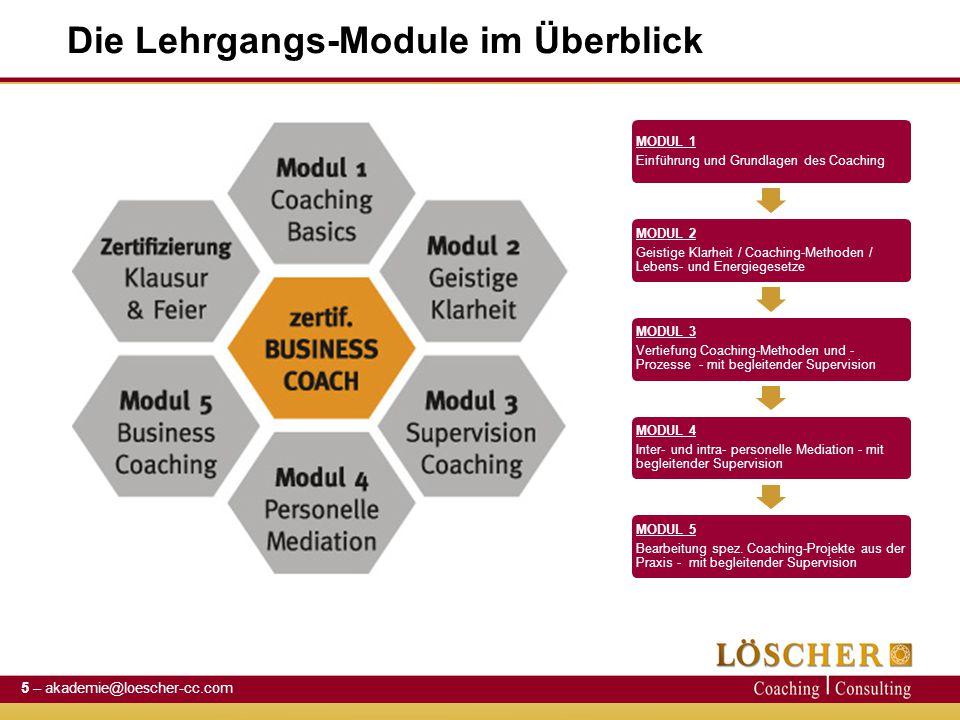 Die Lehrgangs-Module im Überblick MODUL 1 Einführung und Grundlagen des Coaching MODUL 2 Geistige Klarheit / Coaching-Methoden / Lebens- und Energiege