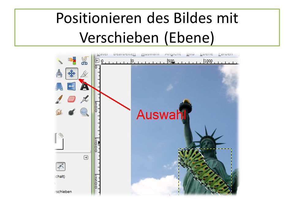Positionieren des Bildes mit Verschieben (Ebene)