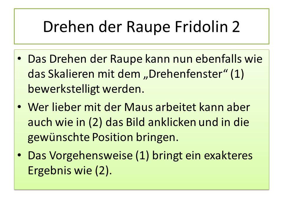"""Drehen der Raupe Fridolin 2 Das Drehen der Raupe kann nun ebenfalls wie das Skalieren mit dem """"Drehenfenster (1) bewerkstelligt werden."""
