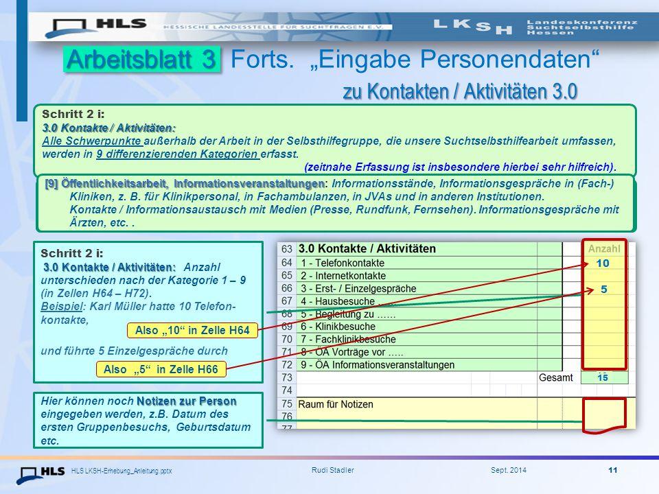 """HLS LKSH-Erhebung_Anleitung.pptx Rudi Stadler Sept. 2014 11 Arbeitsblatt 3 zu Kontakten / Aktivitäten 3.0 Arbeitsblatt 3 Forts. """"Eingabe Personendaten"""
