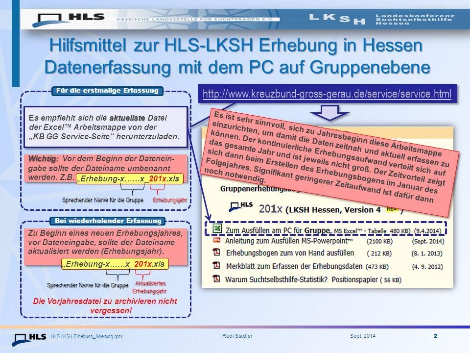 HLS LKSH-Erhebung_Anleitung.pptx Rudi Stadler Sept. 2014 2 Hilfsmittel zur HLS-LKSH Erhebung in Hessen Datenerfassung mit dem PC auf Gruppenebene Hilf