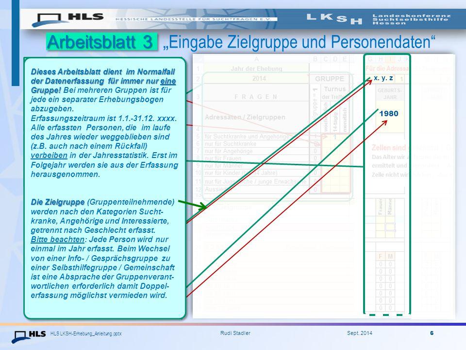 """HLS LKSH-Erhebung_Anleitung.pptx Rudi Stadler Sept. 2014 6 Arbeitsblatt 3 Arbeitsblatt 3 """" Eingabe Zielgruppe und Personendaten"""" 2014 Angabe zur Art d"""
