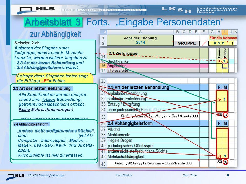 """HLS LKSH-Erhebung_Anleitung.pptx Rudi Stadler Sept. 2014 8 Arbeitsblatt 3 zur Abhängigkeit Arbeitsblatt 3 Forts. """"Eingabe Personendaten"""" zur Abhängigk"""