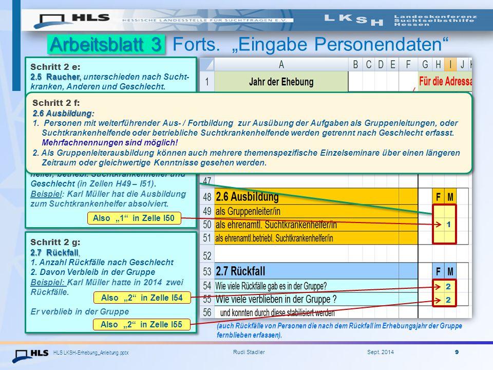 HLS LKSH-Erhebung_Anleitung.pptx Rudi Stadler Sept. 2014 9 Arbeitsblatt 3 - zum Rauchen 2.5 - zur Ausbildung 2.6 - zum Rückfall 2.7 Arbeitsblatt 3 For