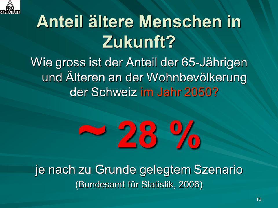 13 Anteil ältere Menschen in Zukunft? Wie gross ist der Anteil der 65-Jährigen und Älteren an der Wohnbevölkerung der Schweiz im Jahr 2050? ~ 28 % je
