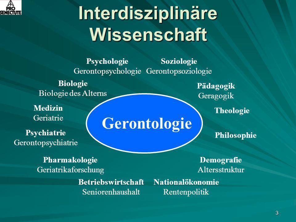 3 Interdisziplinäre Wissenschaft Soziologie Gerontopsoziologie Biologie Biologie des Alterns Pädagogik Geragogik Psychologie Gerontopsychologie Theolo
