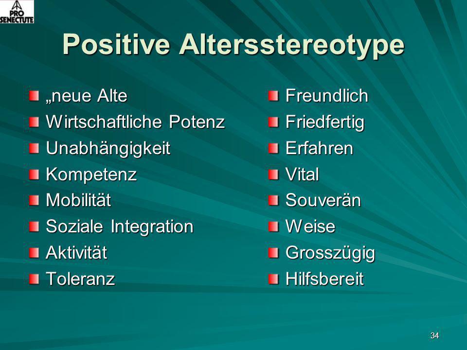 """34 Positive Altersstereotype """"neue Alte Wirtschaftliche Potenz UnabhängigkeitKompetenzMobilität Soziale Integration AktivitätToleranzFreundlichFriedfe"""