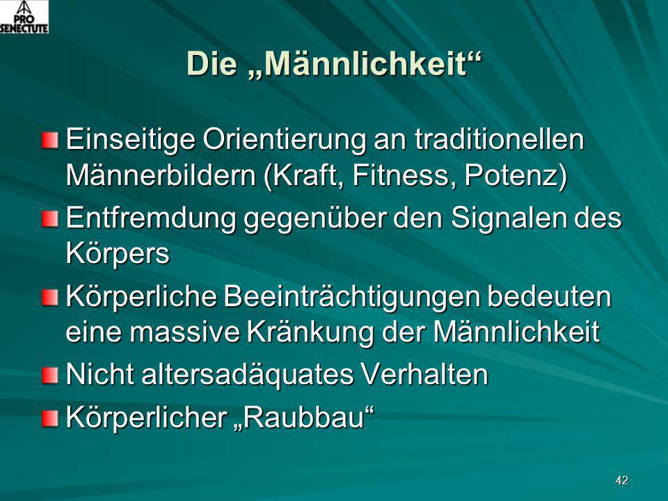 """42 Die """"Männlichkeit"""" Einseitige Orientierung an traditionellen Männerbildern (Kraft, Fitness, Potenz) Entfremdung gegenüber den Signalen des Körpers"""