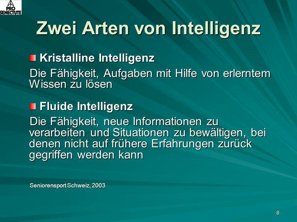 8 Zwei Arten von Intelligenz Kristalline Intelligenz Kristalline Intelligenz Die Fähigkeit, Aufgaben mit Hilfe von erlerntem Wissen zu lösen Fluide In
