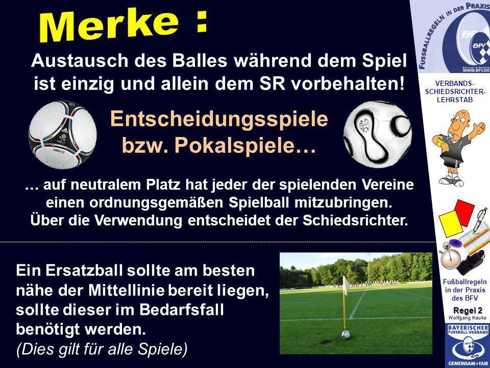 VERBANDS- SCHIEDSRICHTER- LEHRSTAB Fußballregeln in der Praxis des BFV Regel 2 Wolfgang Hauke Austausch des Balles während dem Spiel ist einzig und al