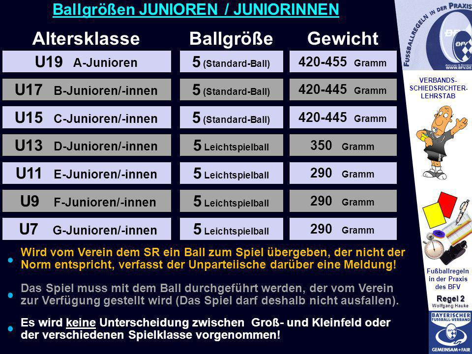 VERBANDS- SCHIEDSRICHTER- LEHRSTAB Fußballregeln in der Praxis des BFV Regel 2 Wolfgang Hauke 5 Leichtspielball U19 A-Junioren Altersklasse 5 (Standar