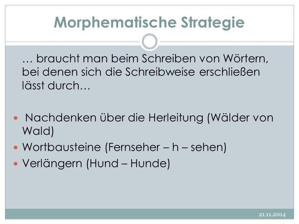 Morphematische Strategie 21.11.2014 … braucht man beim Schreiben von Wörtern, bei denen sich die Schreibweise erschließen lässt durch… Nachdenken über