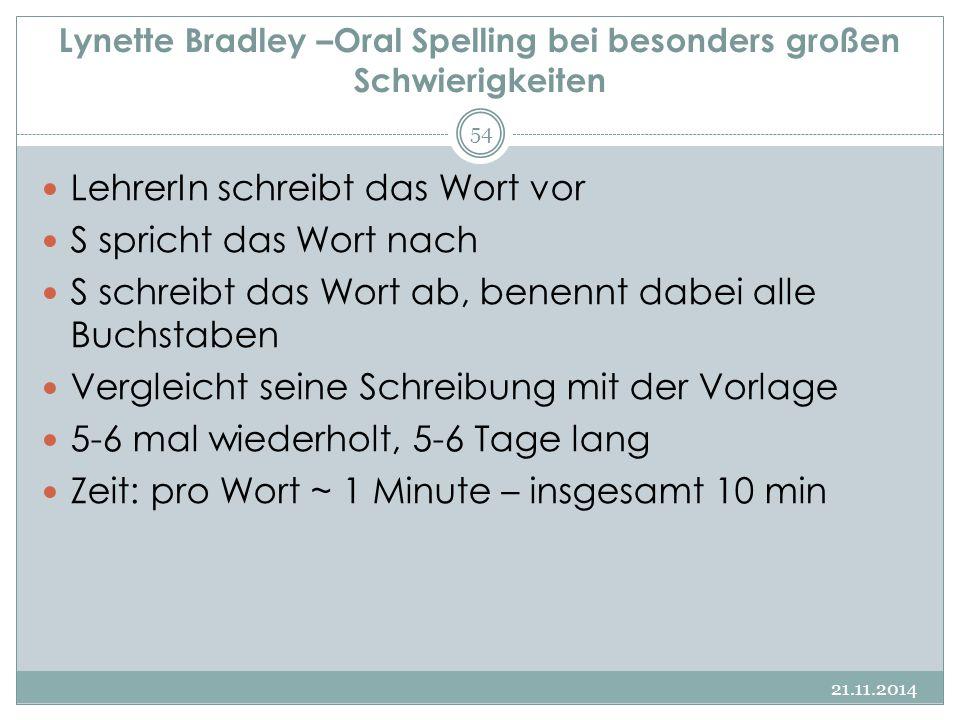 Lynette Bradley –Oral Spelling bei besonders großen Schwierigkeiten LehrerIn schreibt das Wort vor S spricht das Wort nach S schreibt das Wort ab, ben