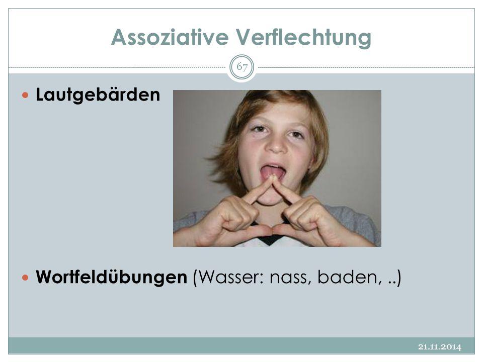 Assoziative Verflechtung Lautgebärden Wortfeldübungen (Wasser: nass, baden,..) 21.11.2014 67