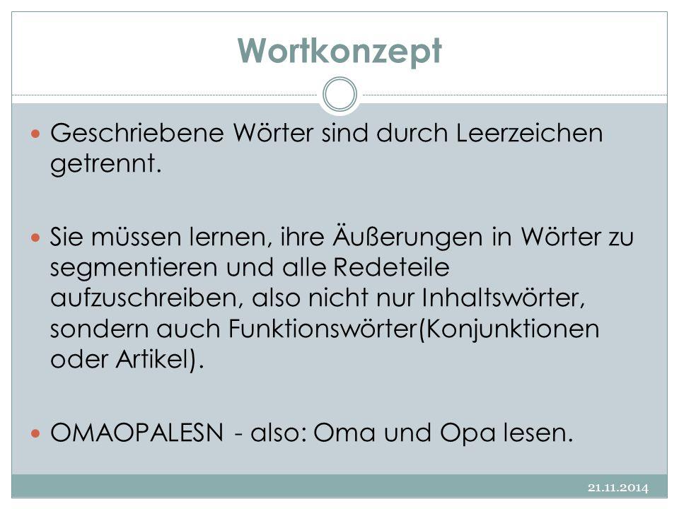 Wortkonzept 21.11.2014 Geschriebene Wörter sind durch Leerzeichen getrennt. Sie müssen lernen, ihre Äußerungen in Wörter zu segmentieren und alle Rede