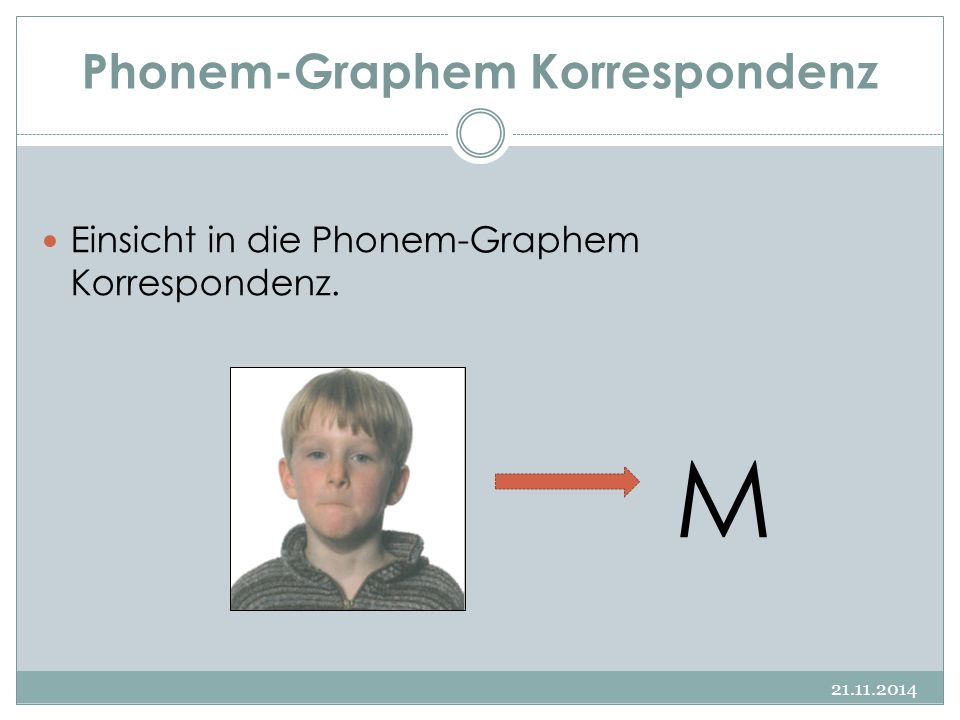 Phonem-Graphem Korrespondenz 21.11.2014 Einsicht in die Phonem-Graphem Korrespondenz. M