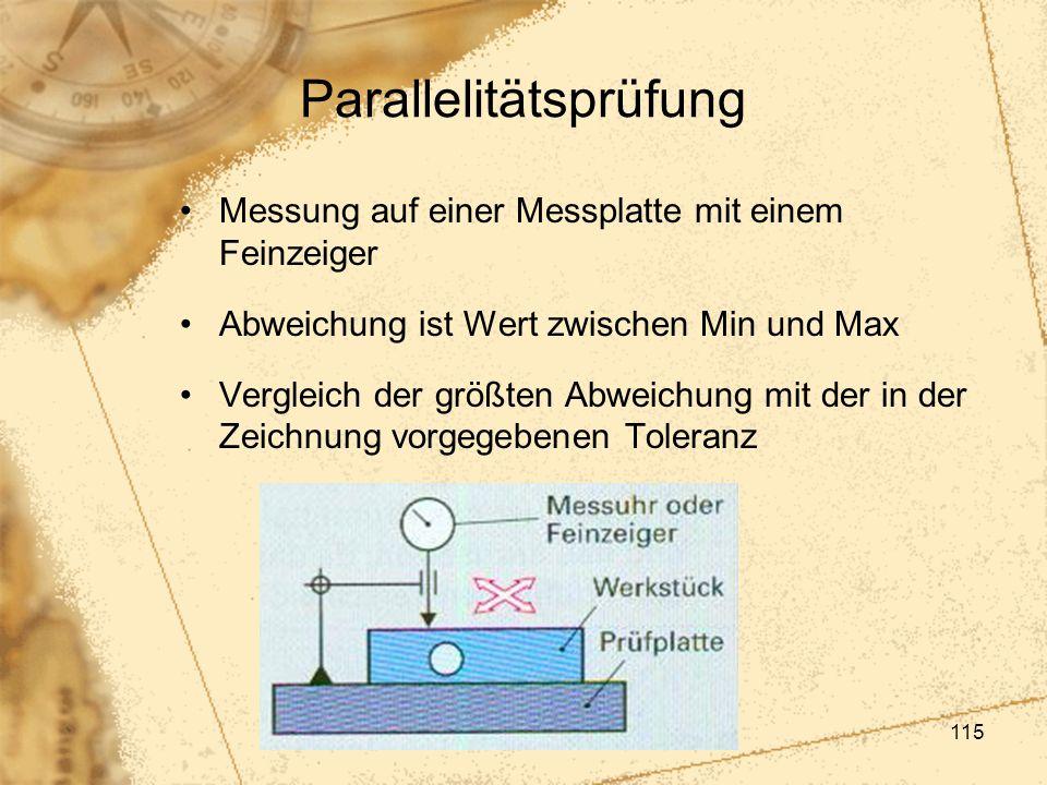 115 Parallelitätsprüfung Messung auf einer Messplatte mit einem Feinzeiger Abweichung ist Wert zwischen Min und Max Vergleich der größten Abweichung m