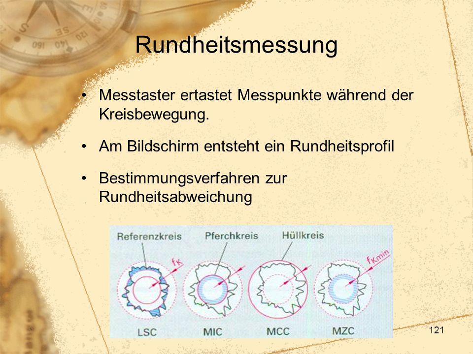 121 Rundheitsmessung Messtaster ertastet Messpunkte während der Kreisbewegung. Am Bildschirm entsteht ein Rundheitsprofil Bestimmungsverfahren zur Run