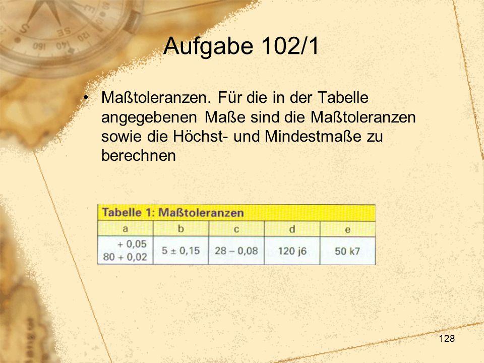 128 Aufgabe 102/1 Maßtoleranzen. Für die in der Tabelle angegebenen Maße sind die Maßtoleranzen sowie die Höchst- und Mindestmaße zu berechnen