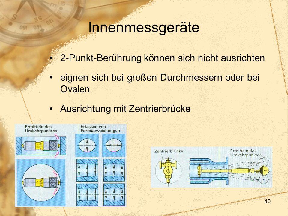 40 Innenmessgeräte 2-Punkt-Berührung können sich nicht ausrichten eignen sich bei großen Durchmessern oder bei Ovalen Ausrichtung mit Zentrierbrücke