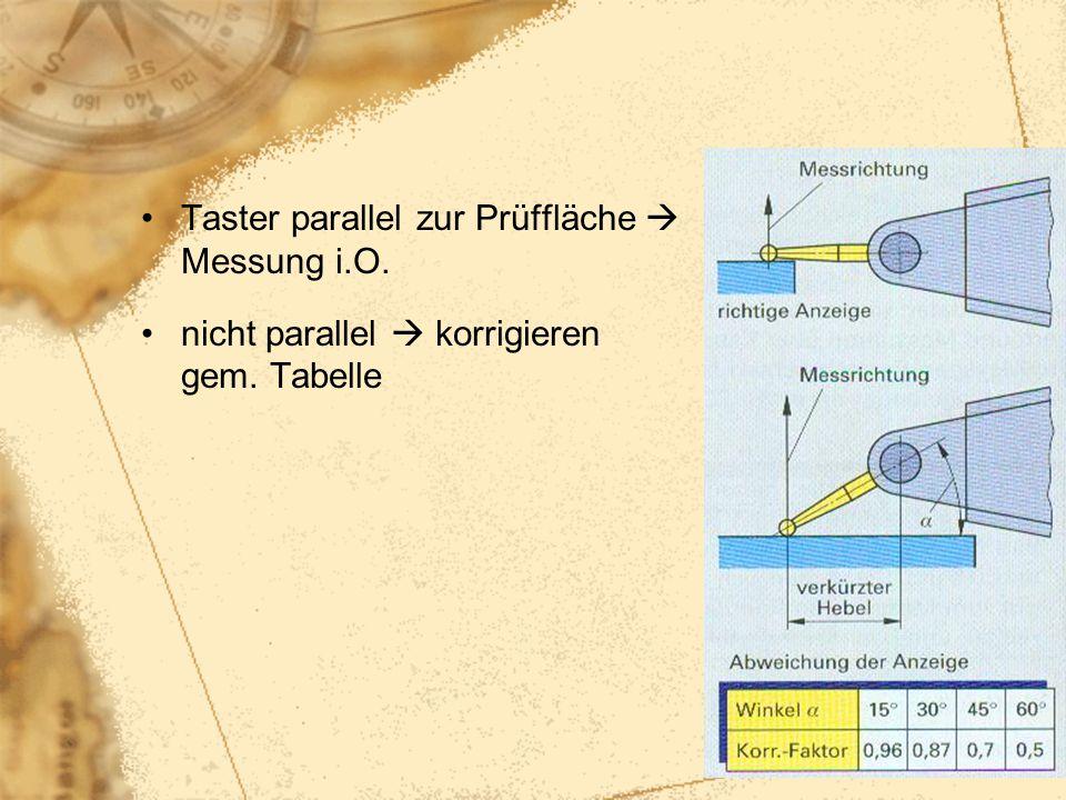 46 Taster parallel zur Prüffläche  Messung i.O. nicht parallel  korrigieren gem. Tabelle