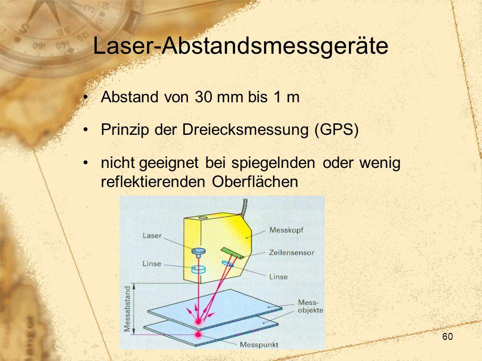 60 Laser-Abstandsmessgeräte Abstand von 30 mm bis 1 m Prinzip der Dreiecksmessung (GPS) nicht geeignet bei spiegelnden oder wenig reflektierenden Ober