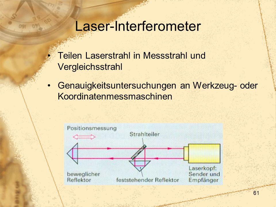 61 Laser-Interferometer Teilen Laserstrahl in Messstrahl und Vergleichsstrahl Genauigkeitsuntersuchungen an Werkzeug- oder Koordinatenmessmaschinen
