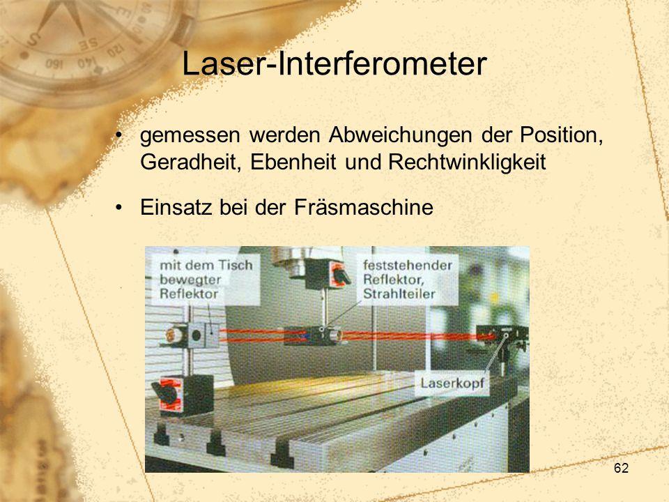 62 Laser-Interferometer gemessen werden Abweichungen der Position, Geradheit, Ebenheit und Rechtwinkligkeit Einsatz bei der Fräsmaschine