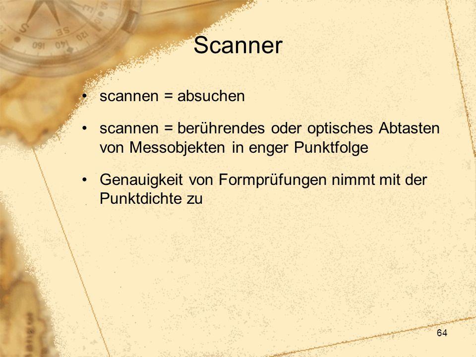 64 Scanner scannen = absuchen scannen = berührendes oder optisches Abtasten von Messobjekten in enger Punktfolge Genauigkeit von Formprüfungen nimmt m