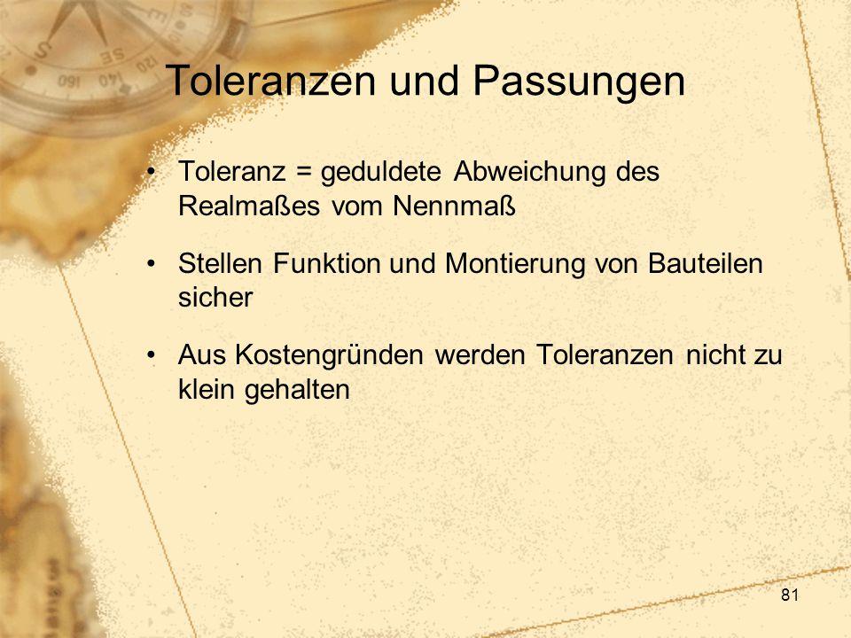 81 Toleranzen und Passungen Toleranz = geduldete Abweichung des Realmaßes vom Nennmaß Stellen Funktion und Montierung von Bauteilen sicher Aus Kosteng