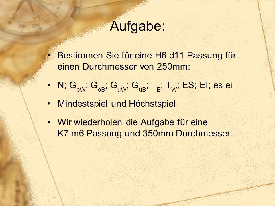 Aufgabe: Bestimmen Sie für eine H6 d11 Passung für einen Durchmesser von 250mm: N; G oW ; G oB ; G uW ; G uB ; T B ; T W ; ES; EI; es ei Mindestspiel