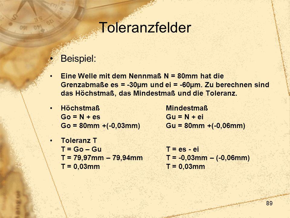 89 Toleranzfelder Beispiel: Eine Welle mit dem Nennmaß N = 80mm hat die Grenzabmaße es = -30µm und ei = -60µm. Zu berechnen sind das Höchstmaß, das Mi