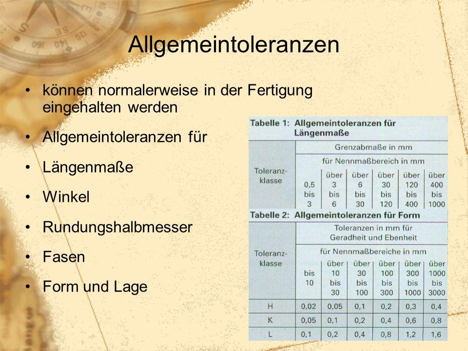 90 Allgemeintoleranzen können normalerweise in der Fertigung eingehalten werden Allgemeintoleranzen für Längenmaße Winkel Rundungshalbmesser Fasen For