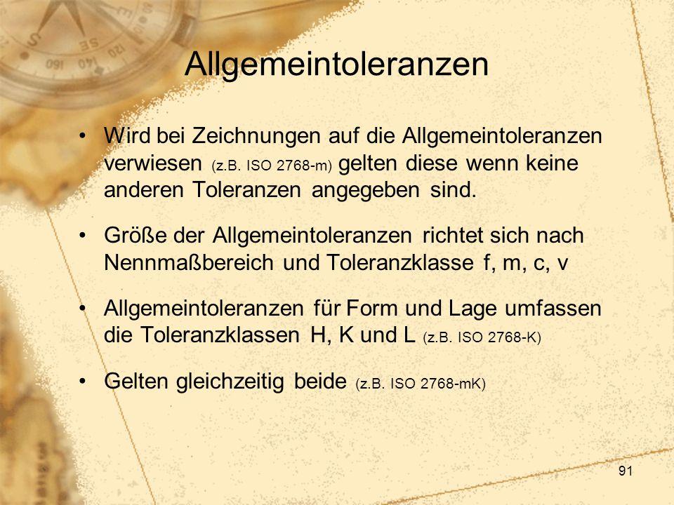 91 Allgemeintoleranzen Wird bei Zeichnungen auf die Allgemeintoleranzen verwiesen (z.B. ISO 2768-m) gelten diese wenn keine anderen Toleranzen angegeb