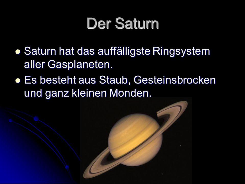 Der Saturn Saturn hat das auffälligste Ringsystem aller Gasplaneten. Saturn hat das auffälligste Ringsystem aller Gasplaneten. Es besteht aus Staub, G