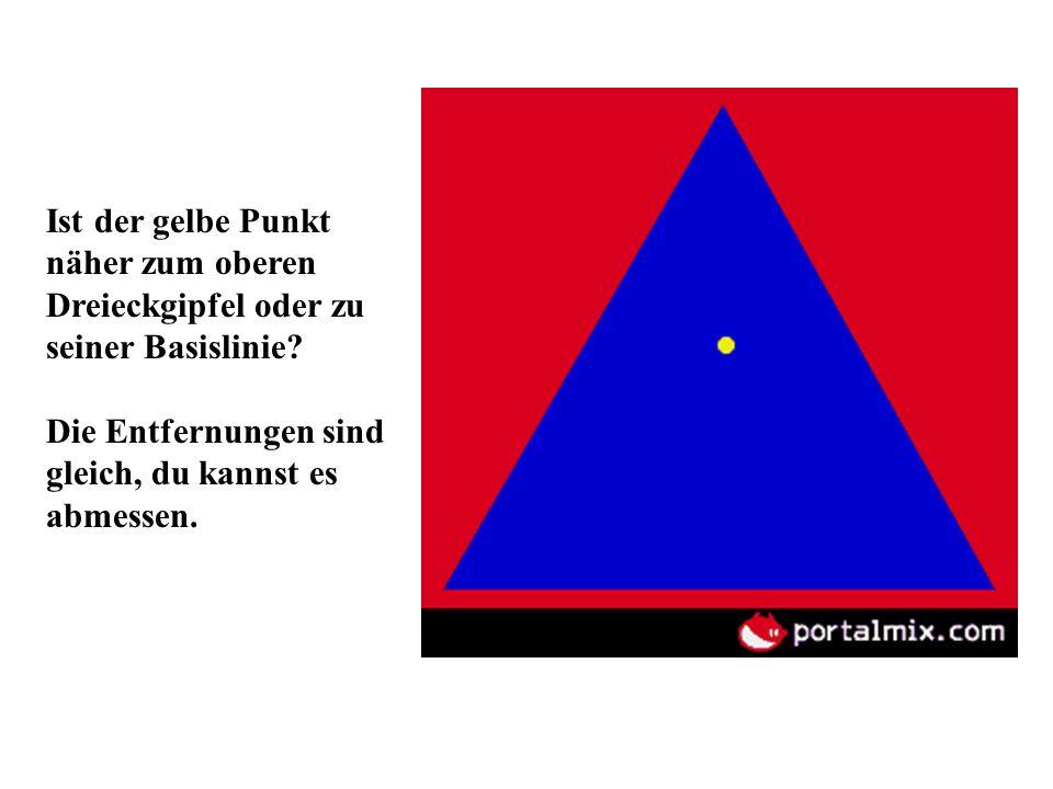 Ist der gelbe Punkt näher zum oberen Dreieckgipfel oder zu seiner Basislinie? Die Entfernungen sind gleich, du kannst es abmessen.