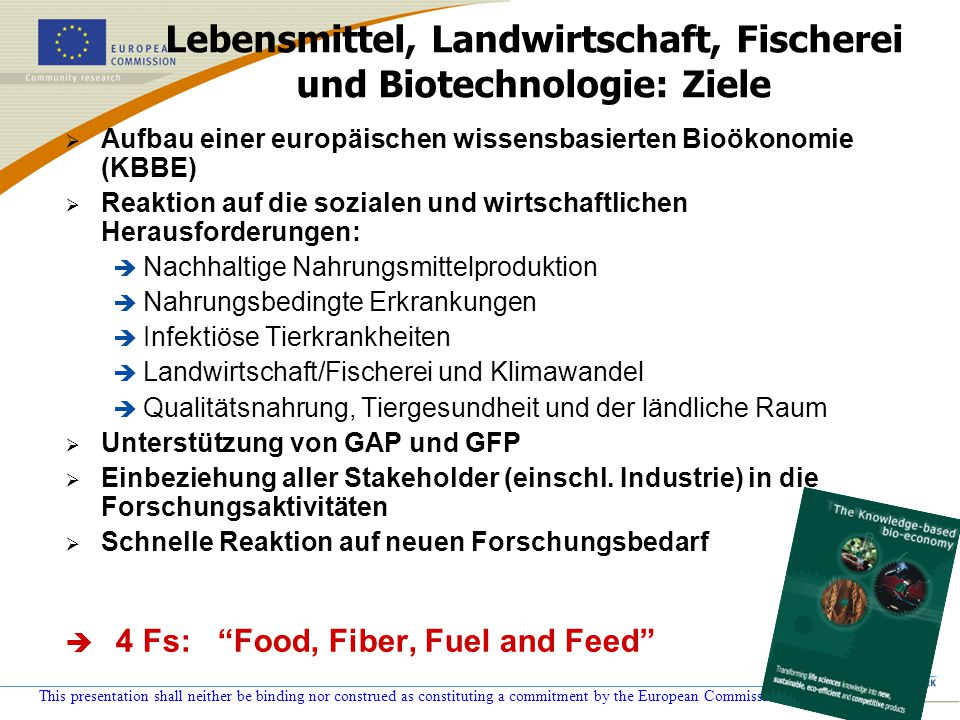 This presentation shall neither be binding nor construed as constituting a commitment by the European Commission Lebensmittel, Landwirtschaft, Fischer