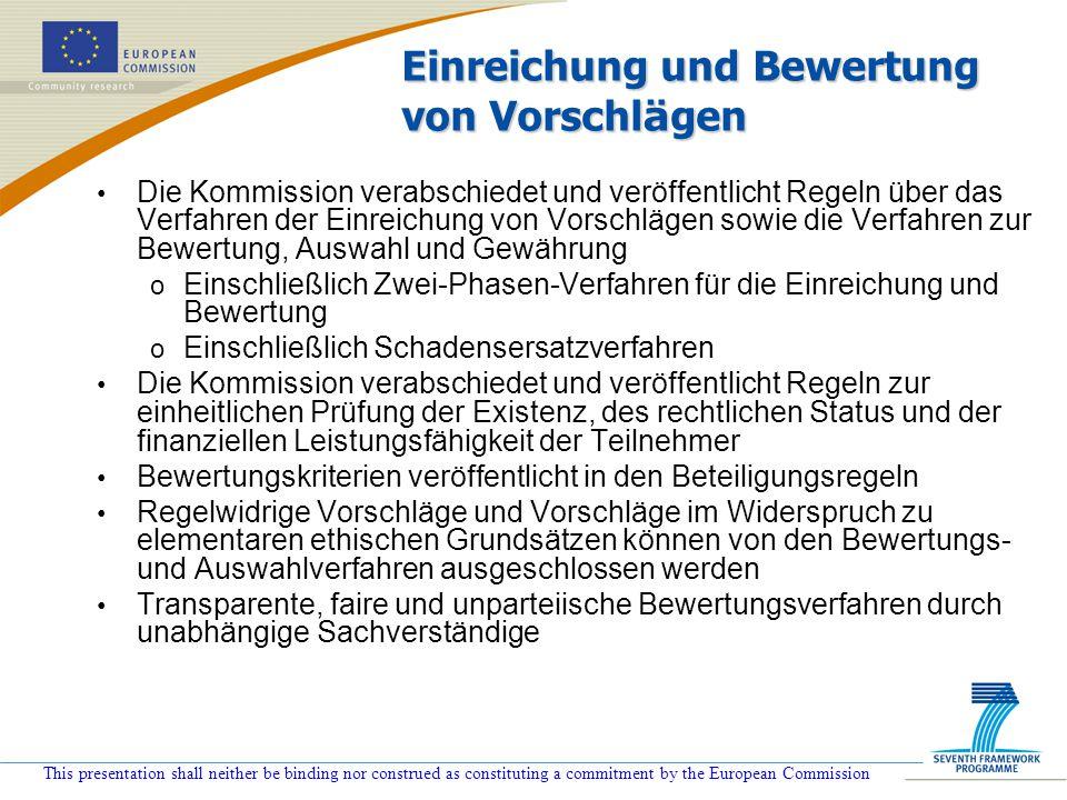 This presentation shall neither be binding nor construed as constituting a commitment by the European Commission Einreichung und Bewertung von Vorschl