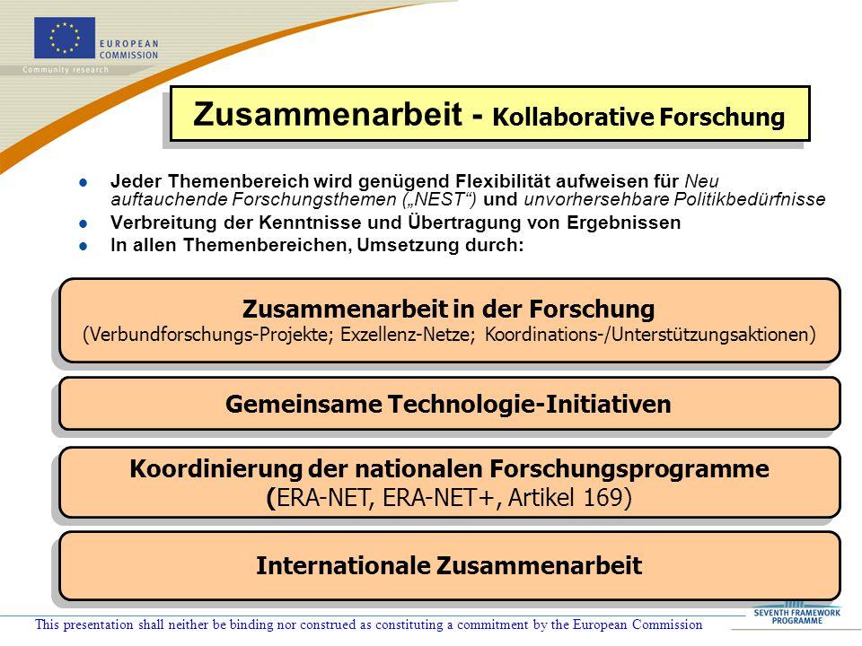 This presentation shall neither be binding nor construed as constituting a commitment by the European Commission : Neu in FP 7: Gewisse FP 6 Aktivitäten, die nicht in thematische Prioritäten fallen, werden in FP 7 Themen aufgenommen .