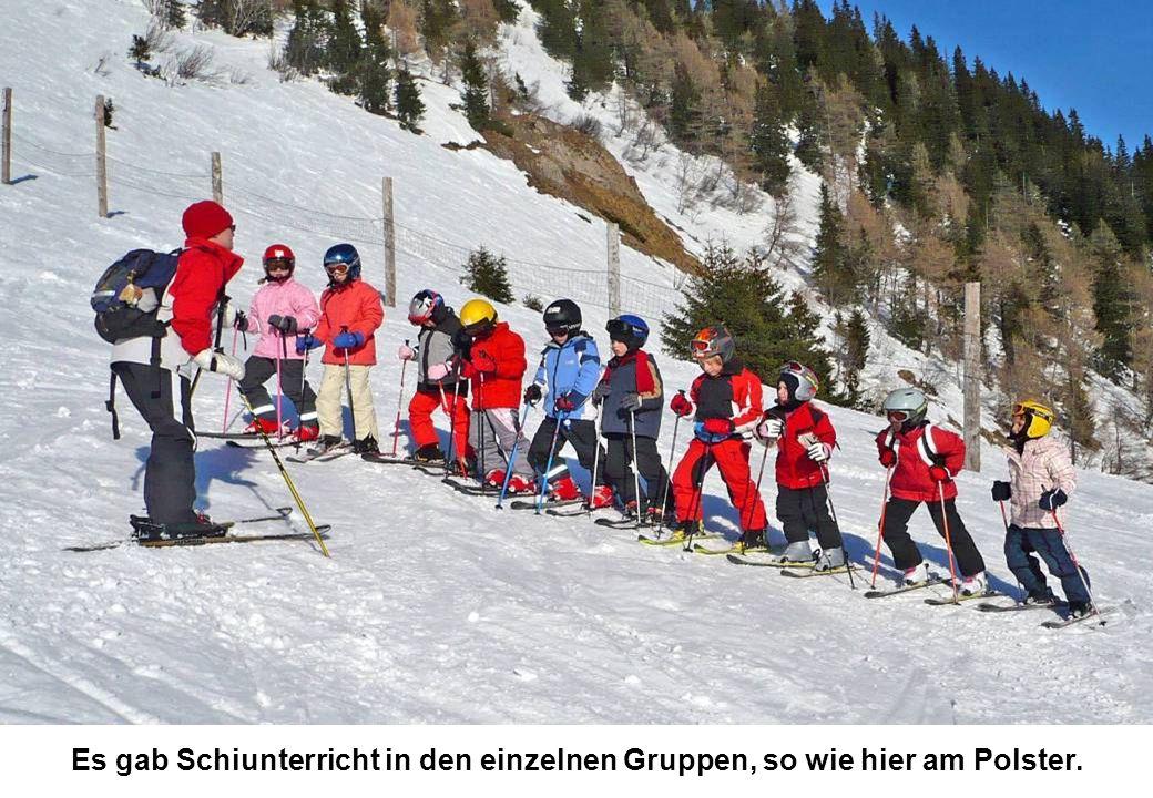 Es gab Schiunterricht in den einzelnen Gruppen, so wie hier am Polster.