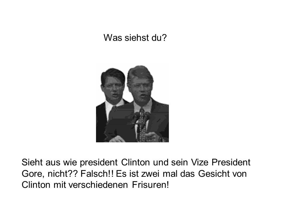 Sieht aus wie president Clinton und sein Vize President Gore, nicht?? Falsch!! Es ist zwei mal das Gesicht von Clinton mit verschiedenen Frisuren! Was