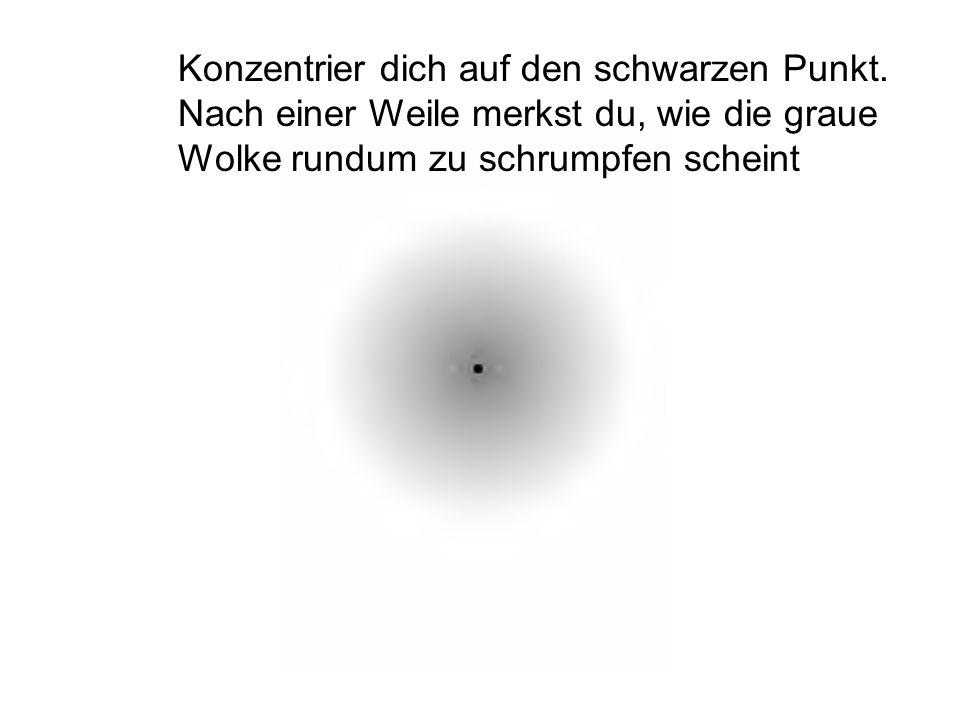 Konzentrier dich auf den schwarzen Punkt. Nach einer Weile merkst du, wie die graue Wolke rundum zu schrumpfen scheint