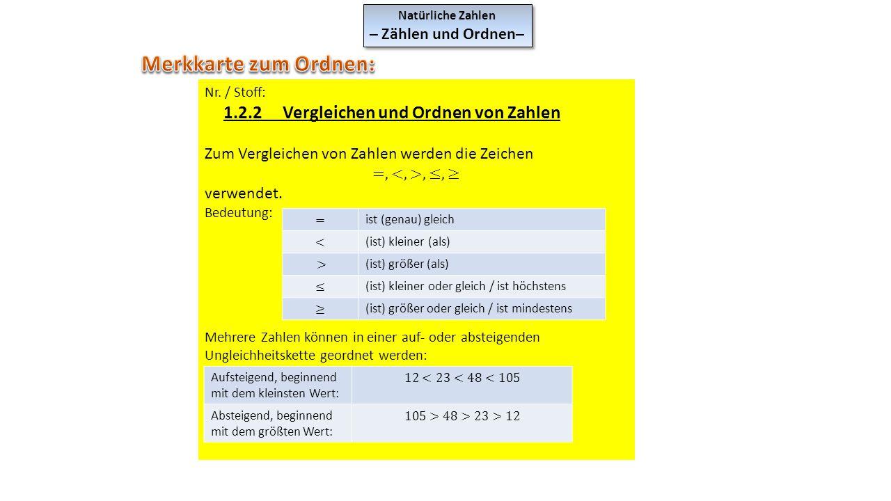 Natürliche Zahlen – Zählen und Ordnen– Natürliche Zahlen – Zählen und Ordnen– ist (genau) gleich (ist) kleiner (als) (ist) größer (als) (ist) kleiner