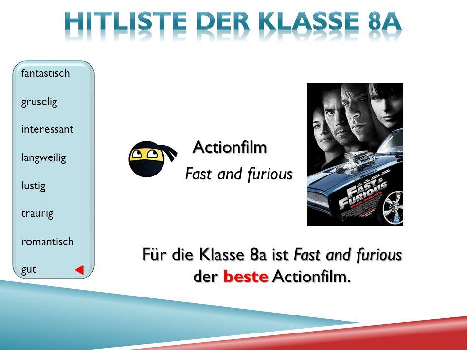 Actionfilm Fast and furious fantastisch gruselig interessant langweilig lustig traurig romantisch gut Für die Klasse 8a ist Fast and furious der beste